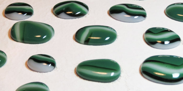 Green Fused Glass Cabochons